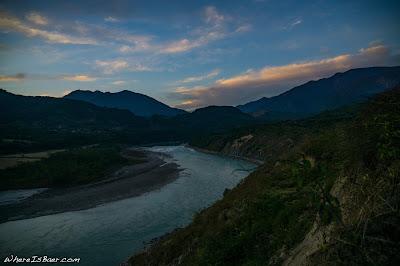evening view from Yingkiong, india arunachal Pradesh kayak river Siang, himalayas WhereIsBaer.com Chris Baer