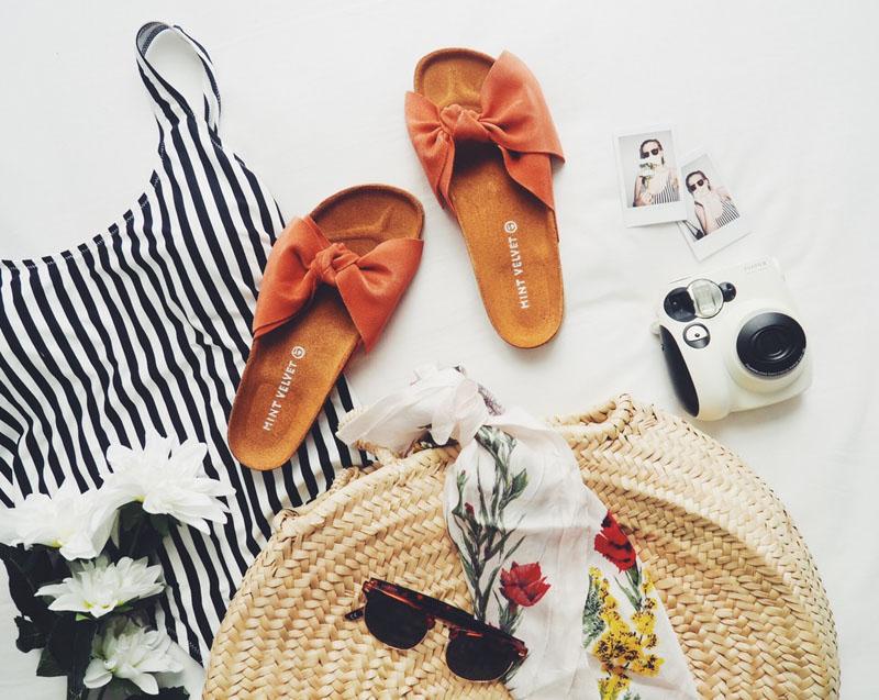 whatsinmybeachbag, houseoffraser, whistles swimsuit, mintvelvetsandals, sunglasses, polaroidcamera, fbloggers, blogger, fashionbloggers, fashionblogger, flatlay, fashionflatlay, beachbag, strawbeachbag