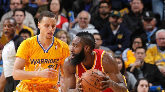 Stephen Curry (Golden State) face à James Harden (Houston), les deux stars de ce match #NBA