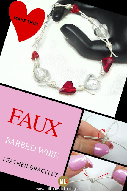 Faux Barbed Wire Leather Cord Bracelet inspiration sheet