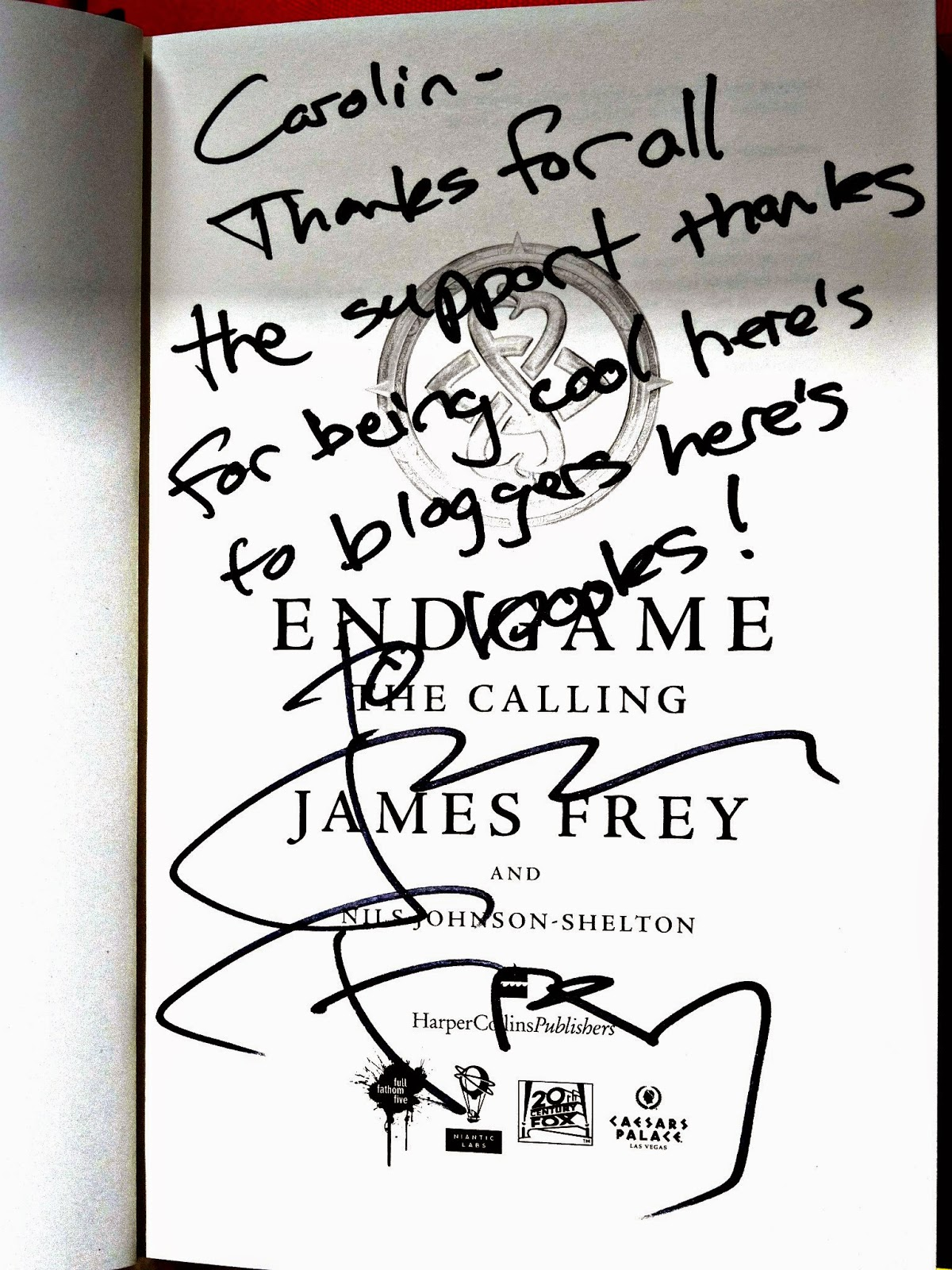 Endgame Waterstones Bath James Frey signature in Endgame