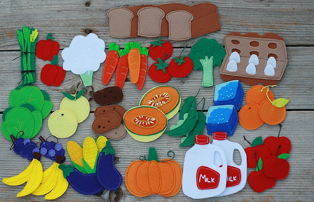 Felt vegetables, fruits, food handmade by TomToy