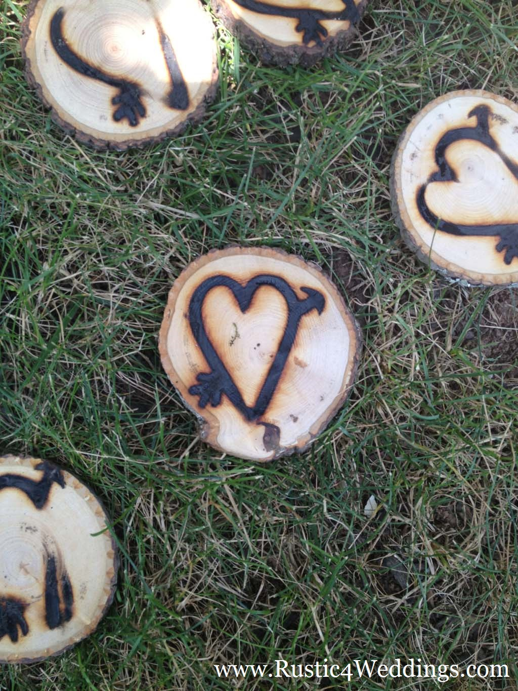 Heart Branded Wood Slices For Rustic Weddings