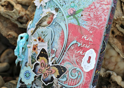 Traveler's Journal featuring Serenade papers and PowderPuff Chalk Inks by Quick Quotes and Joy Clair Stamps designed by Rhonda Van Ginkel