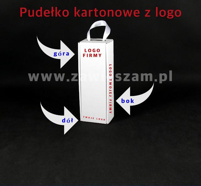 pudełko kartonowe na wino ze wstążką z logo