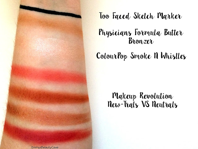 Too Faced Sketch Marker Swatch, Makeup Revolution NewTrals vs Neutrals Swatches