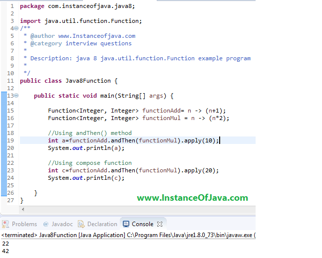 java 8 function example