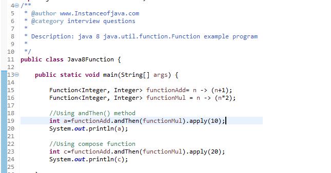 Java 8 java util function Function with example program - InstanceOfJava