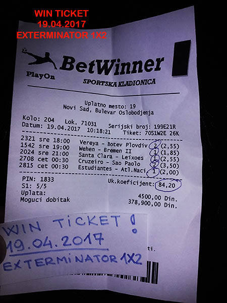WIN TICKET FROM YESTERDAY - WEDNESDAY 19.04.2017