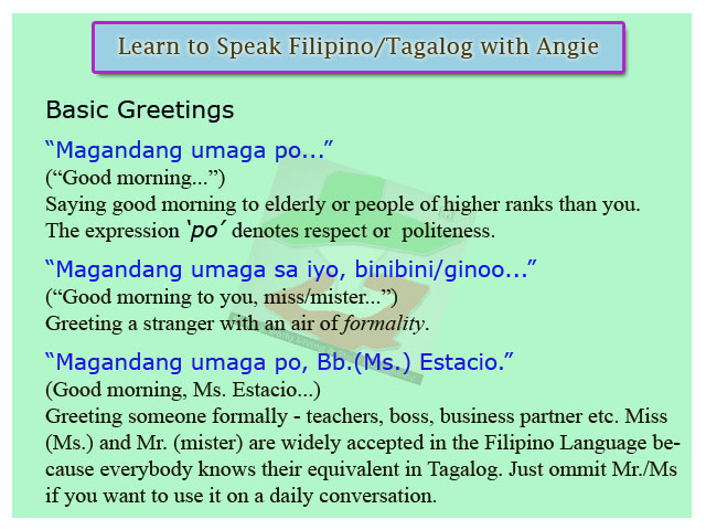 Fdls online magazine speak filipino language lesson 1 i will soon post a recording of this lesson i will update this post m4hsunfo