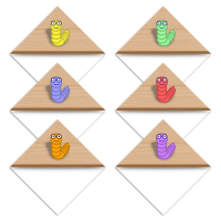 Set of six cute bookworm on a wood effect shelf printable bookmark corner page markers.