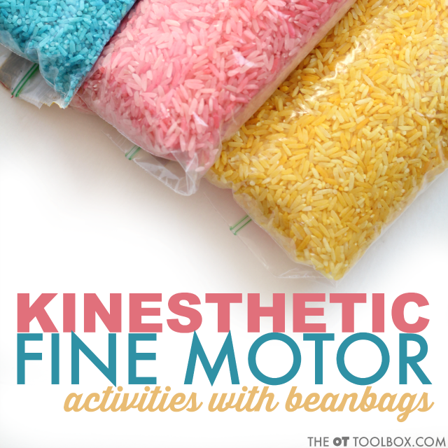 This kinesthetic learning fine motor activity uses DIY beanbags made with colored rice. Use them in learning activities where kids move and learn.