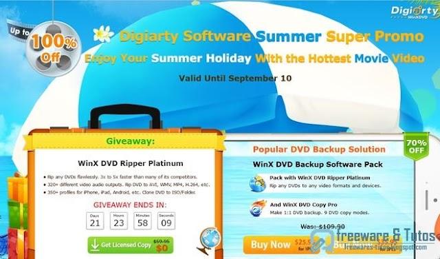Offre promotionnelle : WinX DVD Ripper Platinum gratuit (jusqu'au 10/9)