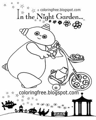 BBC cartoon for kids Makka Pakka in the night garden TV colouring book easy ideas for novice drawing