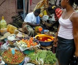 Roadside market in Sierra Leone