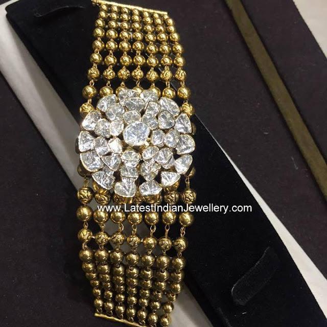 Multi Line Gold Beads Bracelet