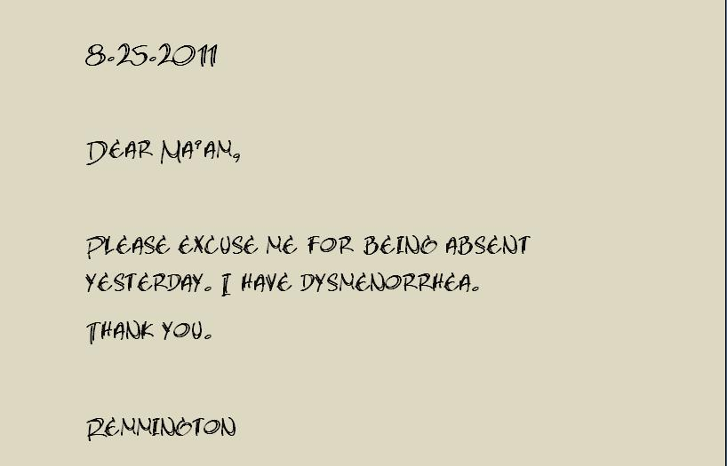 excuse letter for diarrhea kwaderno 17622 | excuse