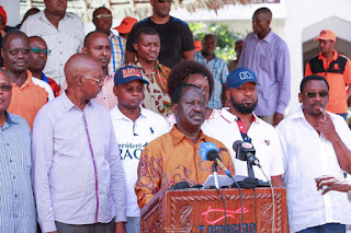 Raila Odinga in a press briefing in Mombasa following government loot. PHOTO | Courtesy