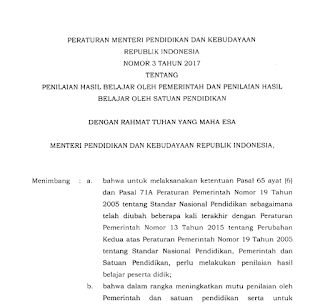Poin-poin Penting Permendikbud Nomor 3 Tahun 2017