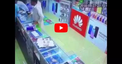 نهاية غير متوقعة لـ 4 لصوص أغبياء لحظة سرقتهم محل هواتف (فيديو)