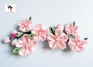 Aplique de flores de cerezo, kanzashiland, kanzashi