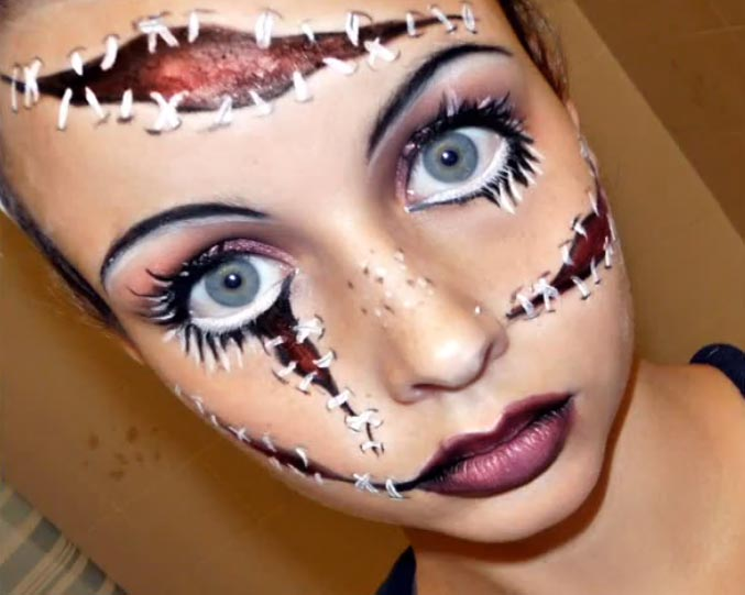 And in the spirit of Halloween, it's time for a few easy Halloween makeup looks. First up, the cracked doll. I used this video as my inspiration. The cracked doll makeup look can be achieved without any fancy schmancy tools or products, though you might want to pick up a white face paint from the drugstore if you don't have on hand. Other.