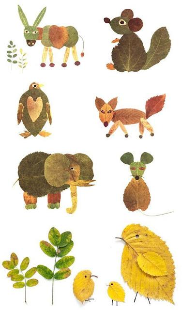 Animales creados con hojas de otoño