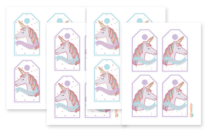 Printable Tags with Rainbow Unicorns