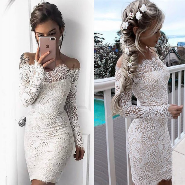 Long-Sleeve Short Simple Cocktail White Mermaid Party Dresses