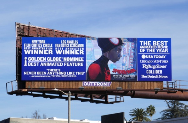 SpiderMan Into SpiderVerse Golden Globe FYC billboard
