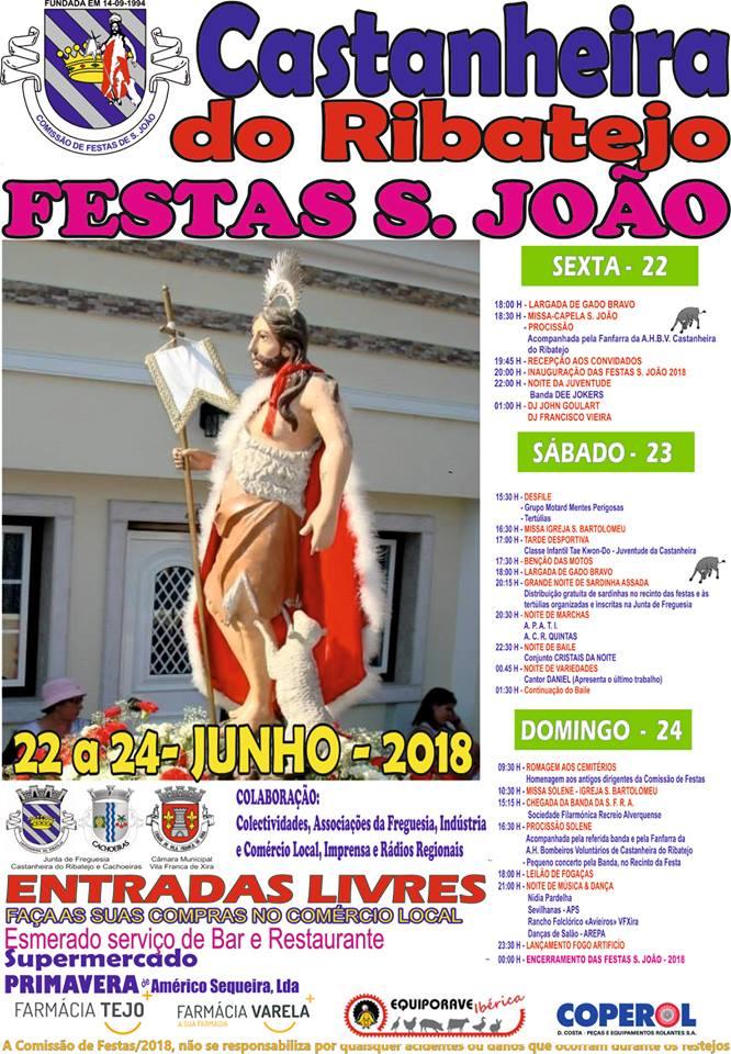 Programa Festa de de São João na Castanheira do Ribatejo 2018