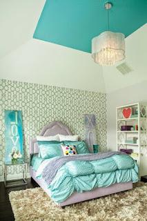 dormitorio adolescente turquesa gris