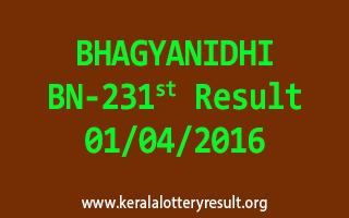 BHAGYANIDHI BN 231 Lottery Result 1-4-2016