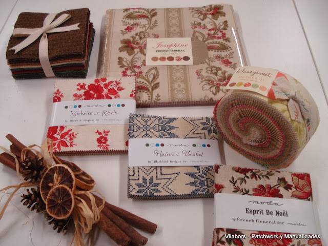 Charm Packs: Nature's Basket, Midwinter reds, Espirit de Noël y la colección de Wool & Needle Flannels - Patchwork Vilabors