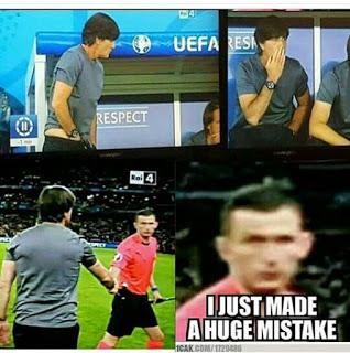 meme lucu, foto lucu joachim low pelatih timnas jerman dipinggir lapangan euro 2016