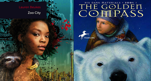 book cover art for Zoo City by Lauren Beukes and The Golden Compass by Phillip Pullman