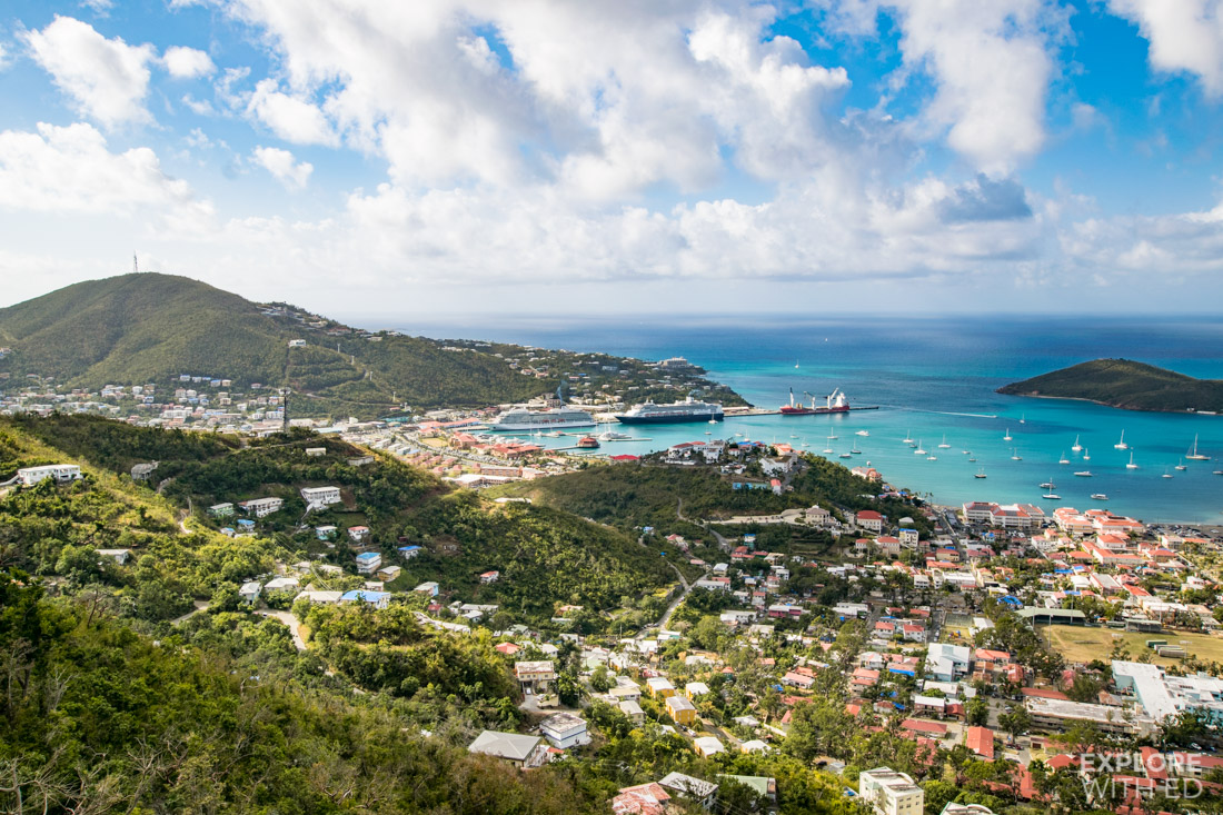 View over Charlotte Amalie and cruise ship harbour in St. Thomas