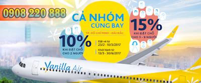 Vanilla Air giảm 20% giá vé bay nhóm đi Đài Loan
