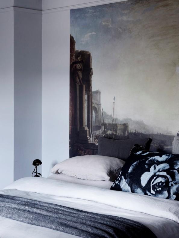 lienzo de gran formato como cabecero de cama chicanddeco