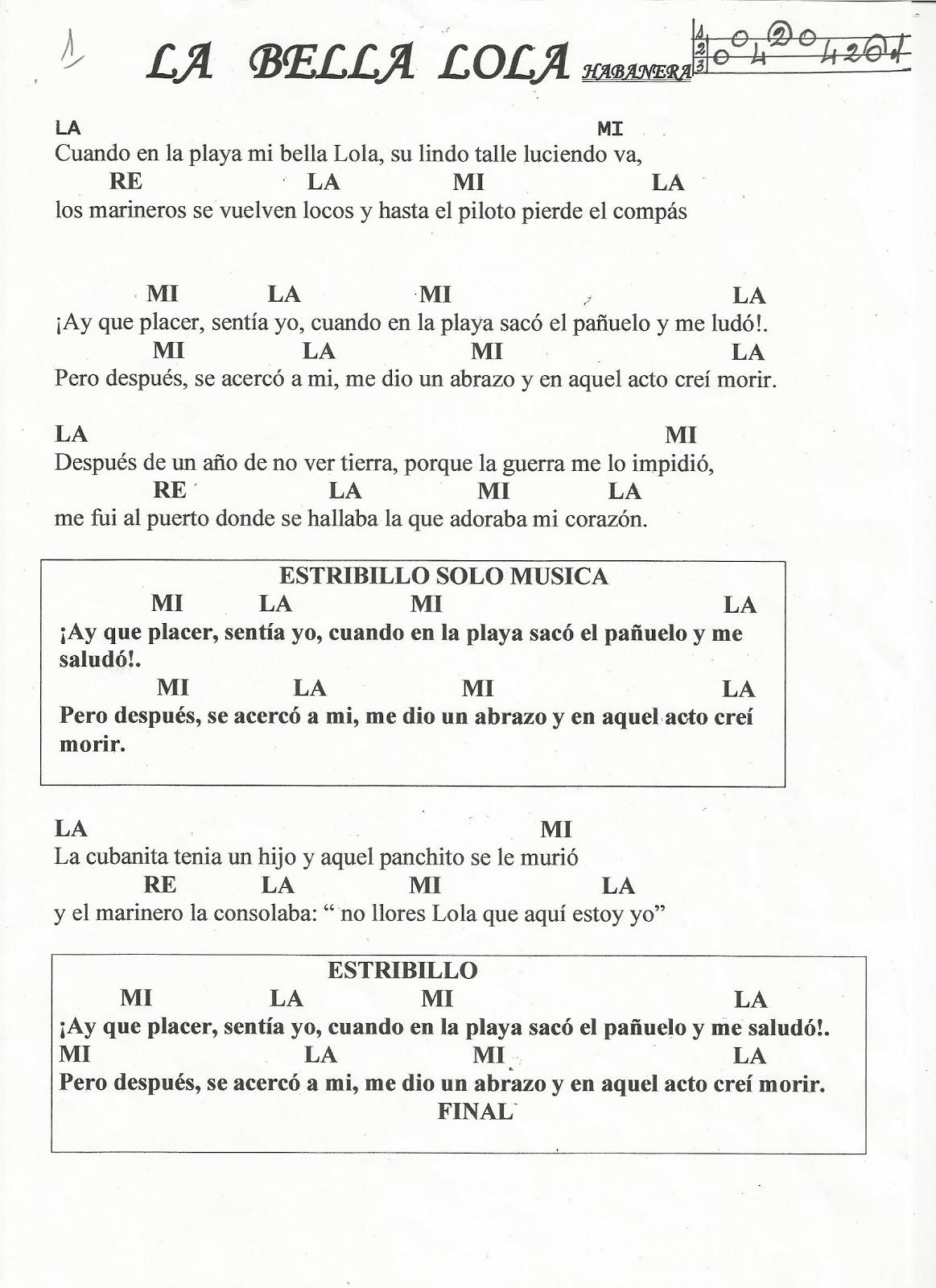 Partituras En Cifra Para Bandurria Y Laúd De José Ortega Laserna La Bella Lola Cifra Y Letra Con Acordes