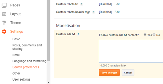 Select Monetisation to add custom ads.txt file blogger