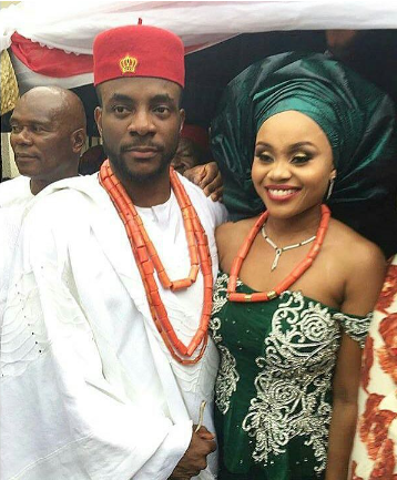 Ebuka Obi Uchendu and his wife on their wedding day
