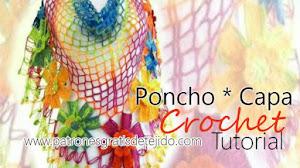 Cómo Tejer Capa Calada Con Flores / Tutorial Crochet