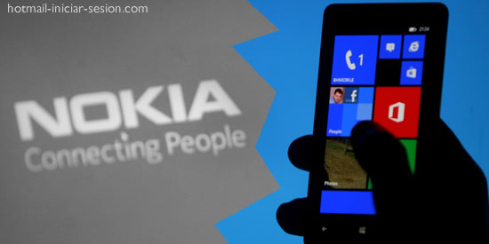 logo de nokia y movil de windows phone en hotmail iniciar sesión