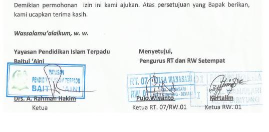 Surat Izin Lingkungan Pendirian Tk Kb Tpa Dari Rt Rw Paud