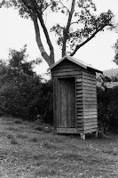 Wooden outhouse, Rathdowney  ( John Oxley Library)