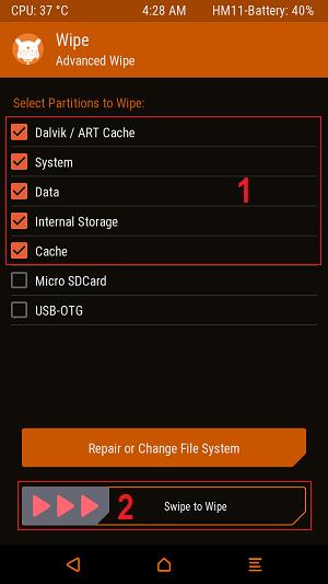 Centang >> Swipe to Wipe TWRP - Ganti Custom ROM MIUI Pro Redmi 2 dengan Mudah via TWRP