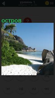 остров с пляжем в океане и зелеными насаждениями