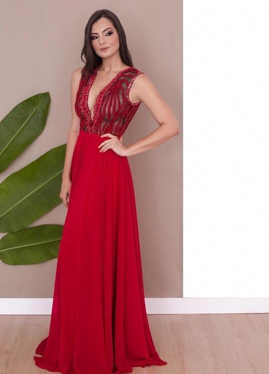 vestido formatura vermelho