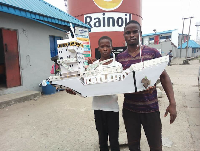 PHOTOS: Young Boy Built Ship Within One Day In Delta State